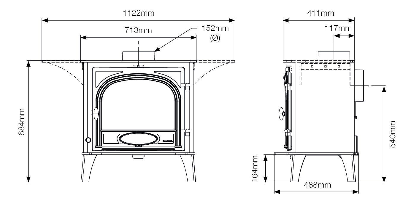 Stockton 11 Cook Stove Dimensions