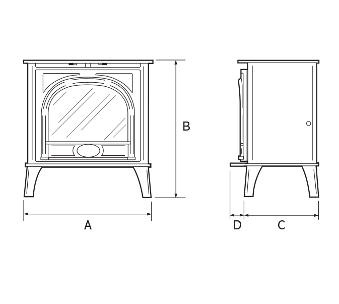 Stockton Electric Stoves Dimensions