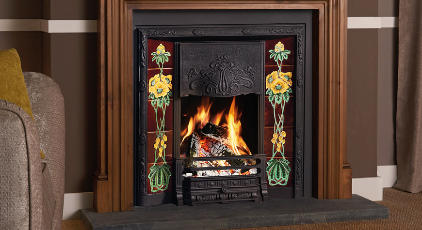 Stovax Art Nouveau Tiled Fireplace In Matt Black With Optional Cast Iron Back And Rhododendron Tile Sets Shown Chatsworth Wooden Mantel