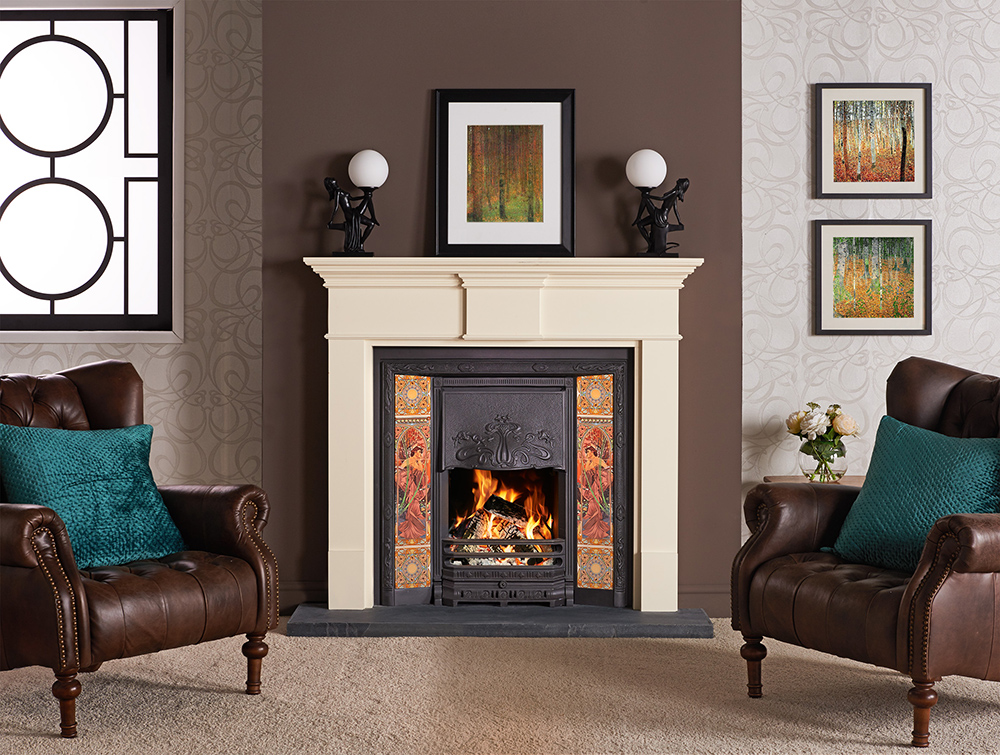 Art Nouveau Tiled Fireplaces Stovax Traditional Fireplaces