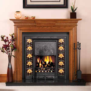 Gas fire version of Art Nouveau Convector Fireplace. Shown with Yellow Iris tube-lined tiles and Stovax Chatsworth wood mantel