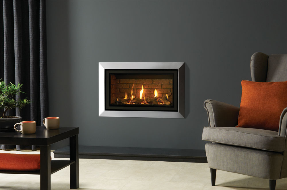 slim gas fireplace stone surround gazco studio slimline bauhaus in polished stainless steel glass fronted with logeffect fuel bed and vermiculite lining gas fires