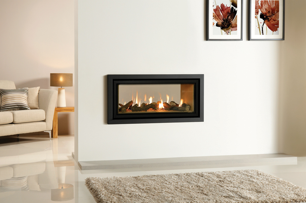 Gazco Studio 2 Duplex gas fire with Vermiculite lining and Profil frame in  Anthracite - Studio Duplex Double-Sided Gas Fires
