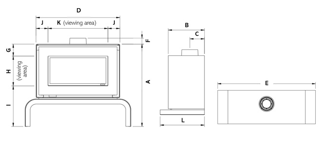 Studio 2 Freestanding Gas Fires Dimensions