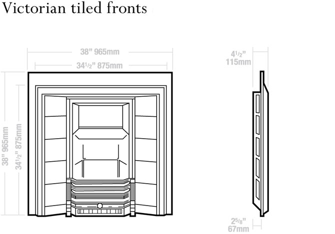 Victorian Tiled Fronts Dimensions
