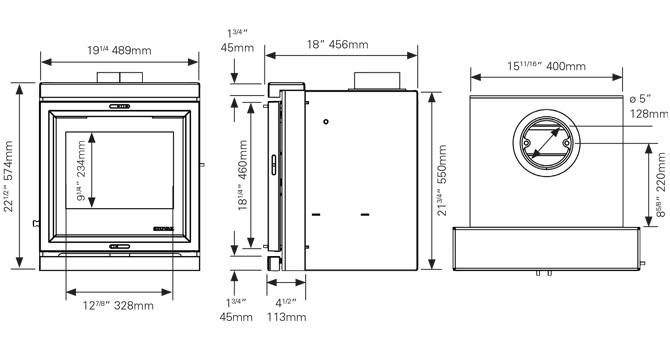 View 7 Inset Convector Dimensions