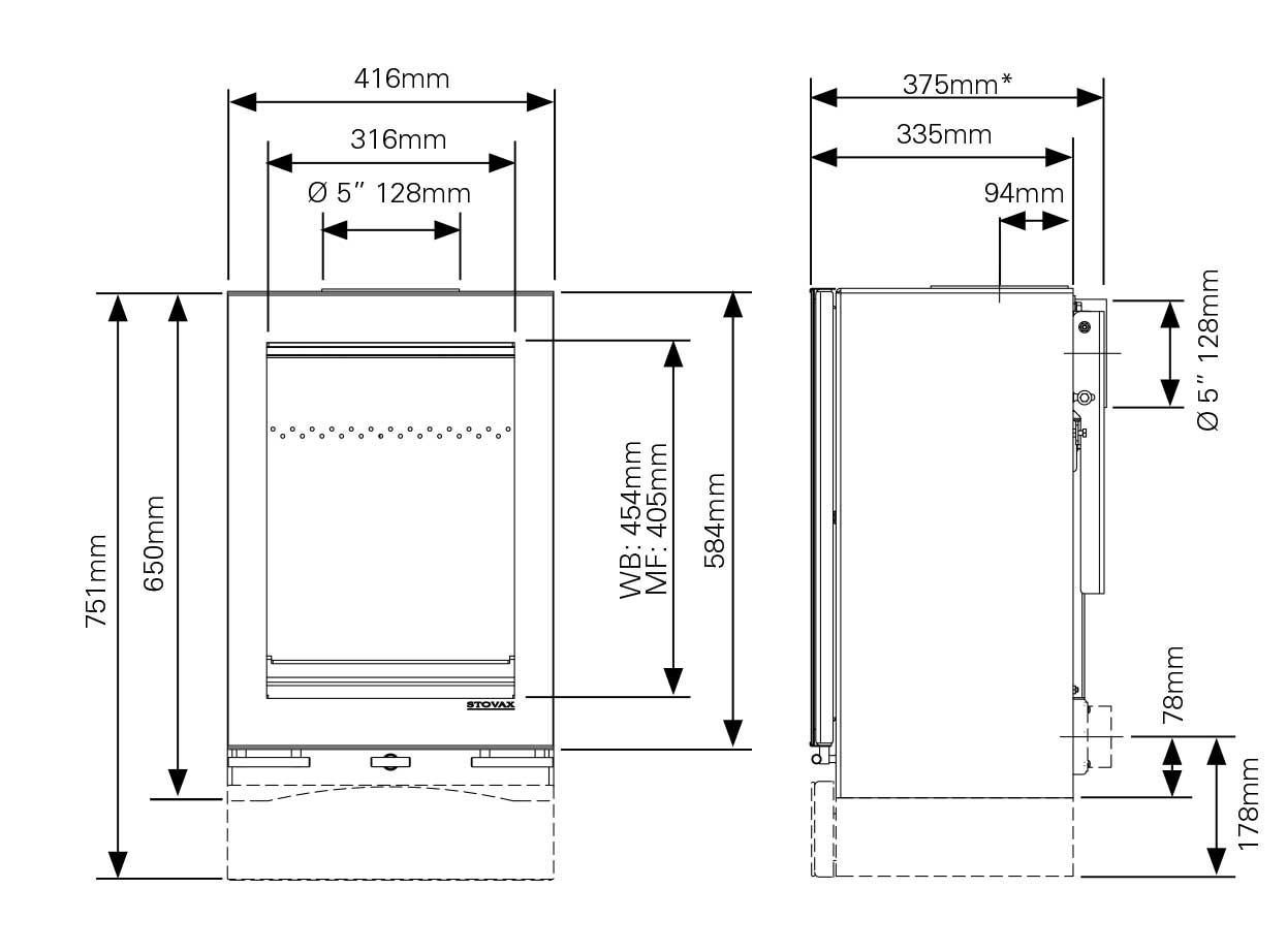 Vision Midi T Wall Hung Dimensions