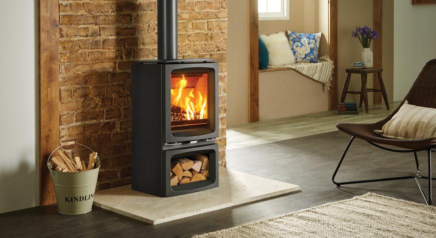 Stovax Vogue Midi wood burning stove with optional wood store base - Vogue Midi Wood Burning Stove