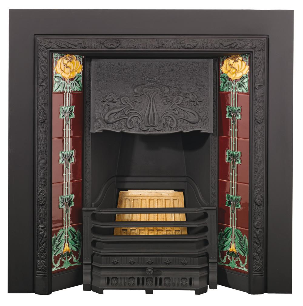 Stovax Art Nouveau Tiled Insert fireplace with English Rose surround tiles,  Matt Black - Art Nouveau Tiled Insert Fireplaces - Stovax Traditional Fireplaces