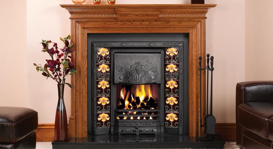 Art Deco Fire Basket Stovax : Art nouveau tiled convector fireplaces stovax