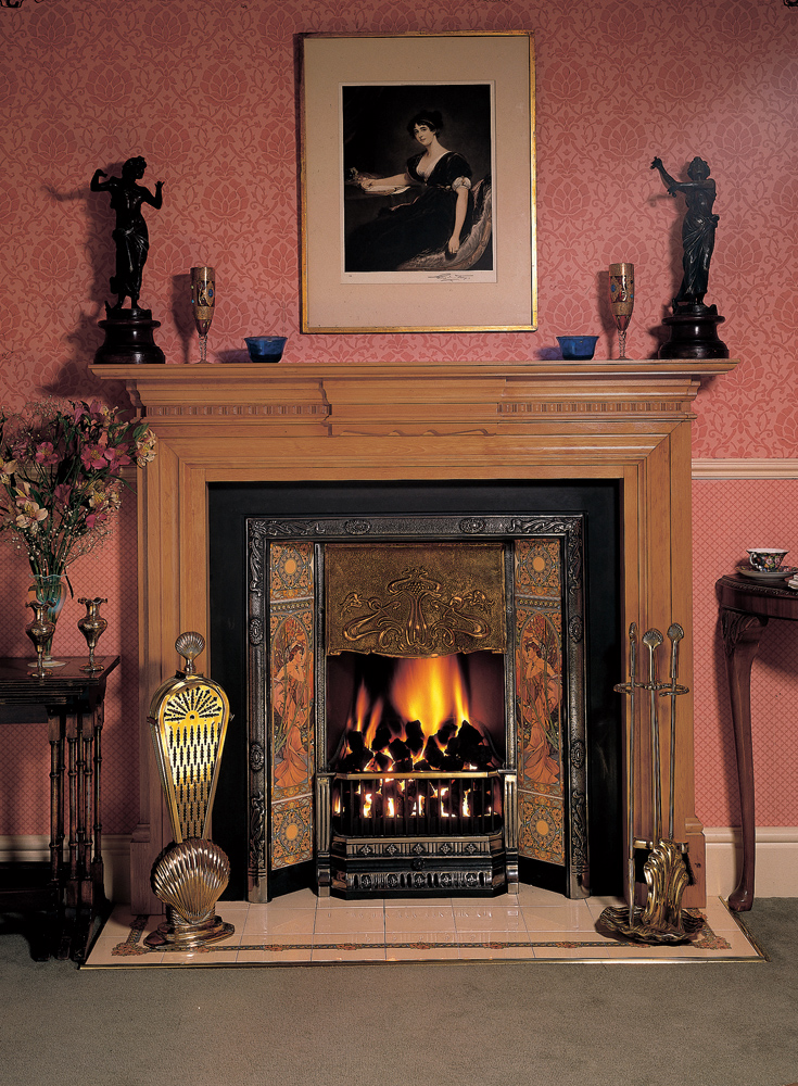 Fireplace Design fireplace art : Art Nouveau Tiled Insert Fireplaces - Stovax Traditional Fireplaces