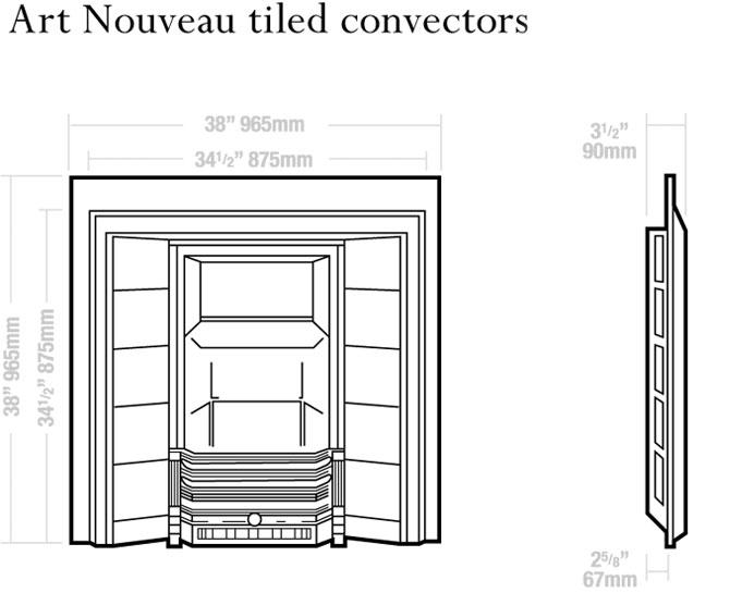 Art Nouveau Tiled Convectors Dimensions