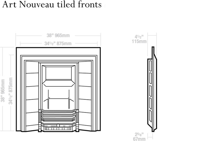 Art Nouveau Tiled Fronts Dimensions