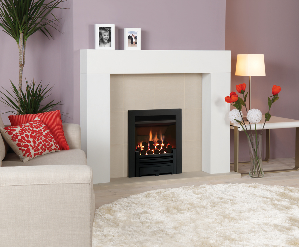 Gazco Vfc Convector Fire With Matt Black Arts Front And Profil Frame Also Shown Malmo Mantel From Stovax