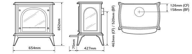 Ashdon Gas Stoves – Clear Door Dimensions