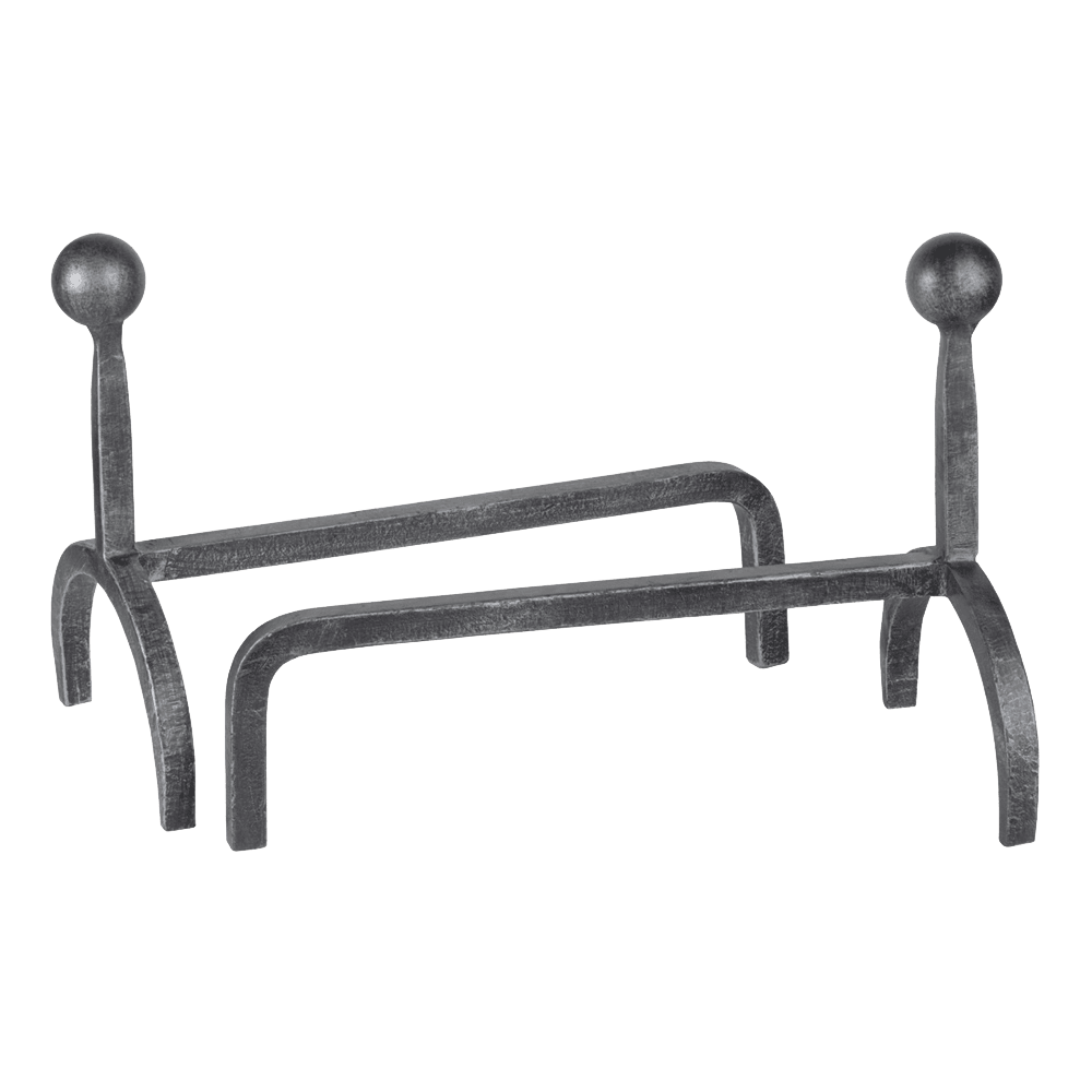 Ball top wrought iron andiron set