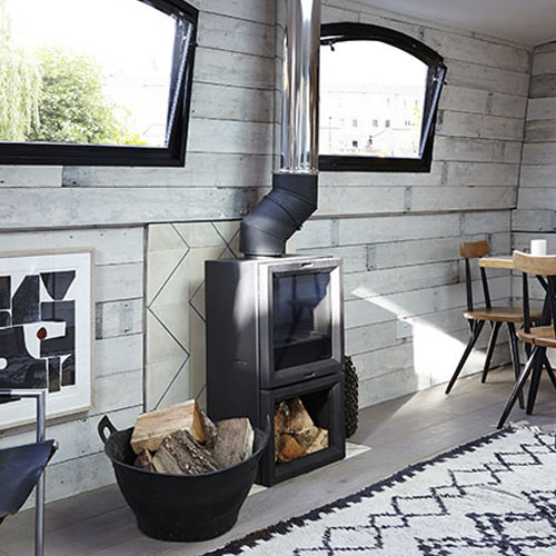 Bert & May Spaces Furnish Their Boutique Barge with a Stovax Contemporary Stove