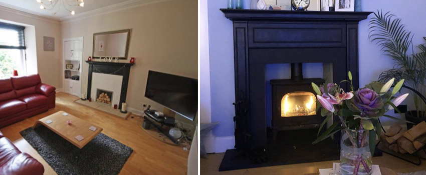 Before and after Stovax 5 Wide wood burning stove
