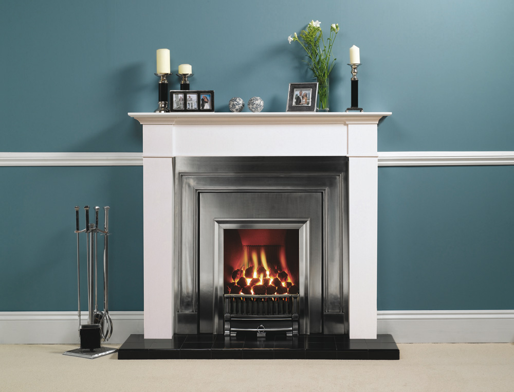 Stovax Belgravia Polished Cast Fireplace Front. Also Shown: Brompton Mantel  From Stovax.