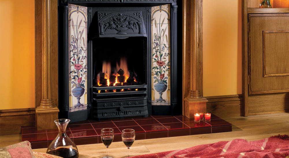 Stovax Poppy Wheatsheaf Tiled Front With 2 X 5 Tile Sets Also Shown Regency Lacquered Antiwue Pine Mantel And Burgundy Field Tiles
