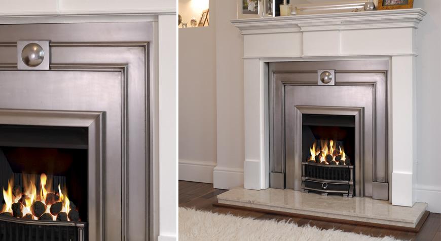 Stovax Burlington Polished Cast Fireplace Front With Pembroke Mantel U0026  Holyrood Fire.