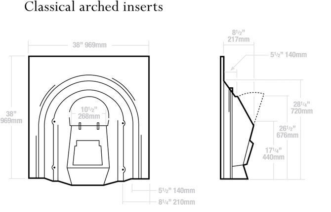 Classical Arched Inserts Dimensions