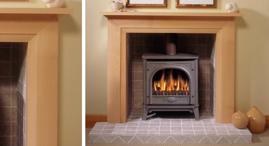 Oak mantel wood burning stove