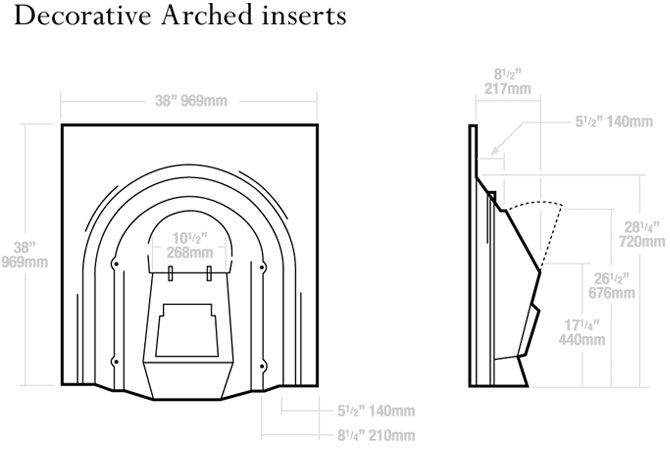 Decorative Arched Inserts Dimensions