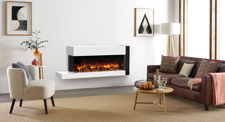 Gazco eReflex 110W Outset Electric Fire with Trento Suite