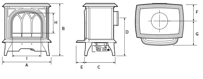 Huntingdon Electric Stoves Dimensions