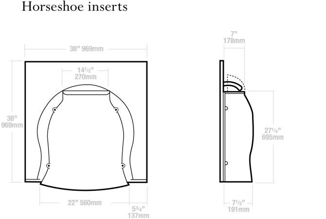 Horseshoe Inserts Dimensions