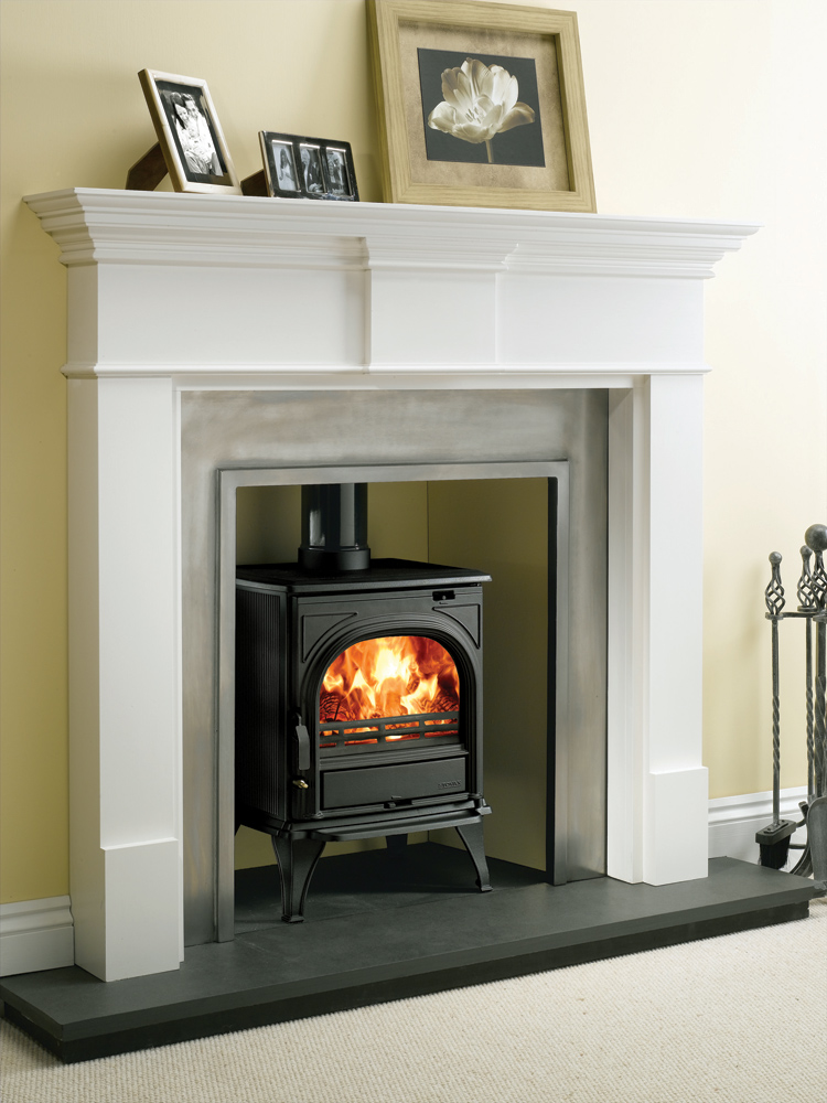 Small Stone Fireplace Painted Black