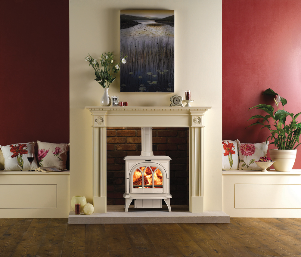 Stovax Huntingdon 30 Wood Burning Stove In Ivory Enamel With Georgian Wooden Mantel