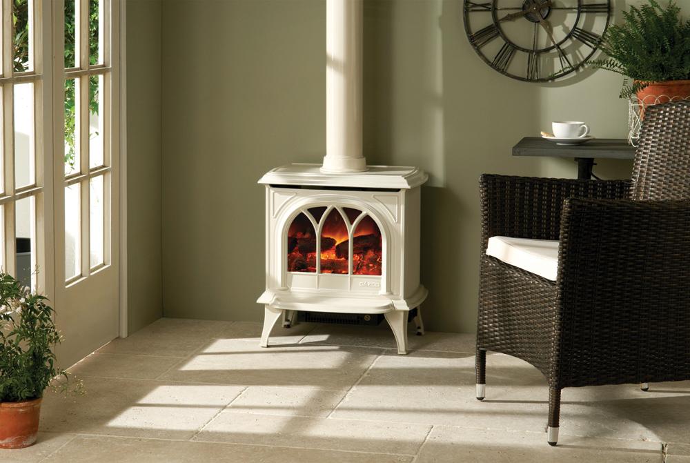 Electric Wood Burner Part - 37: Gazco Huntingdon 30 Electric Stove In Ivory Enamel With Decorative Flue.