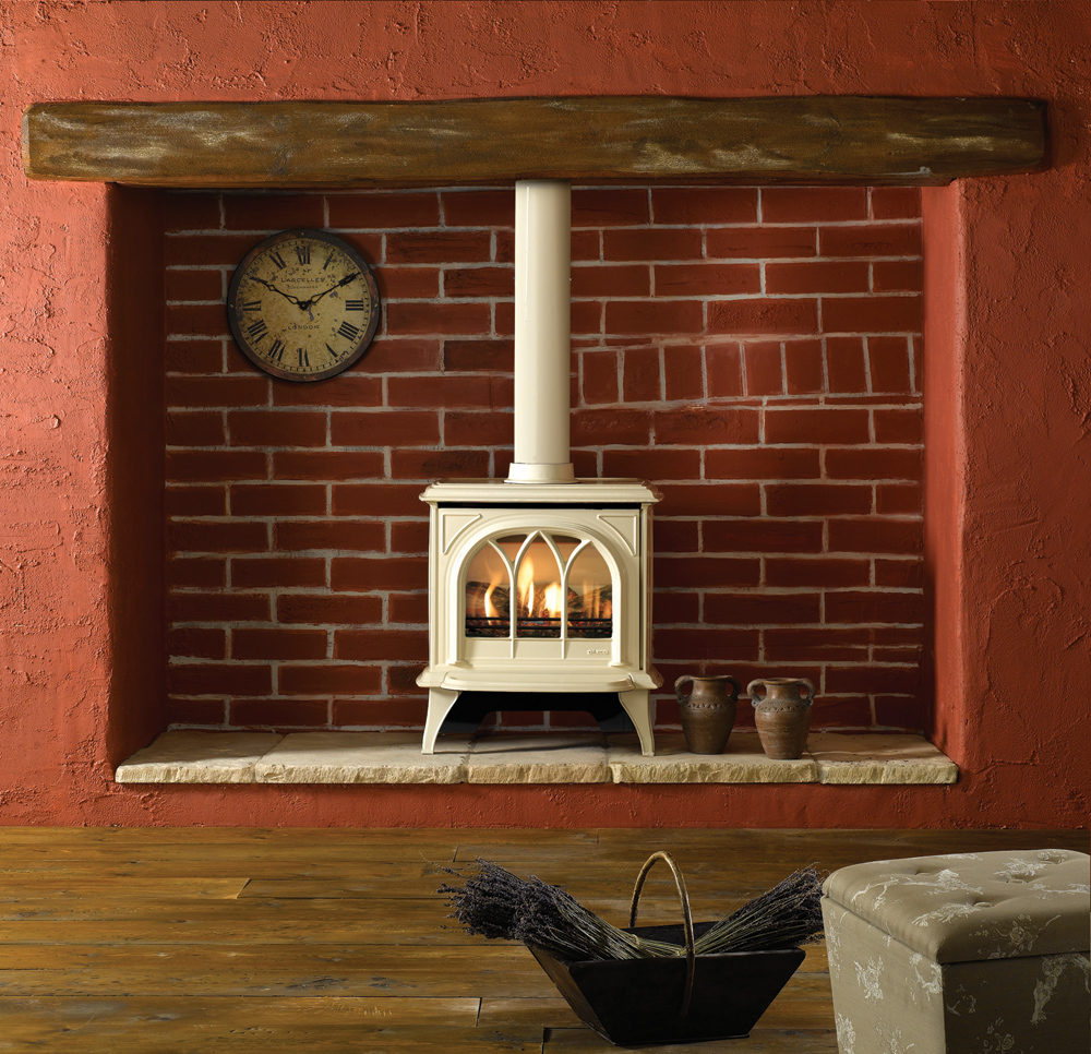 Gazco huntingdon 30 gas stove with log effect in ivory enamel