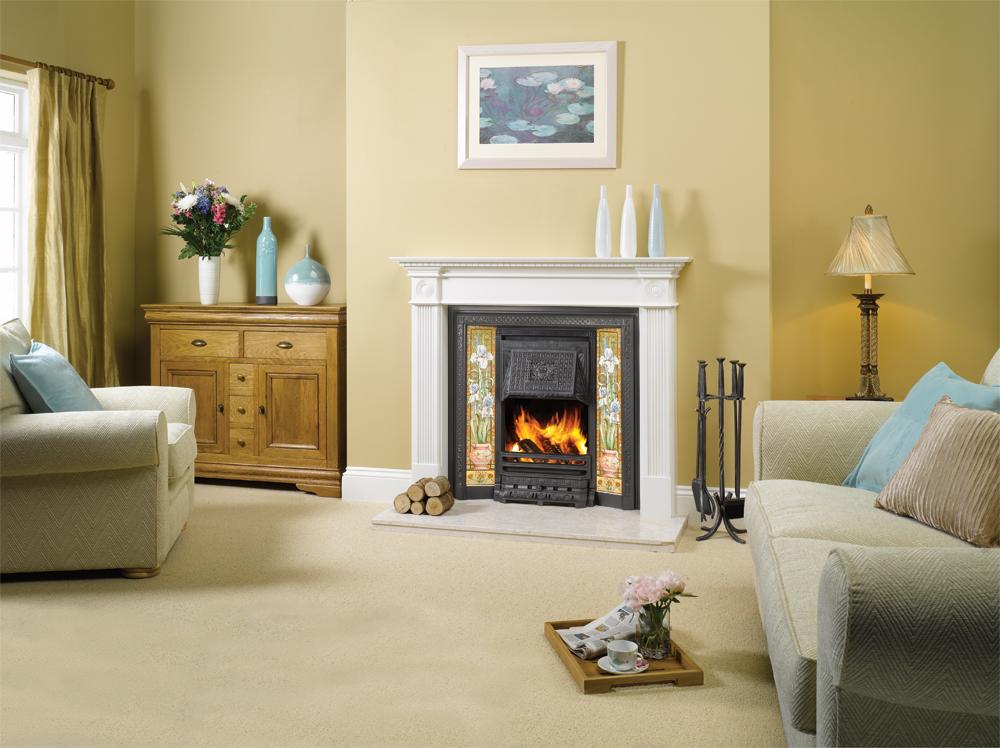 Blue Iris Decorated Fireplace 5 Tile Set Stovax