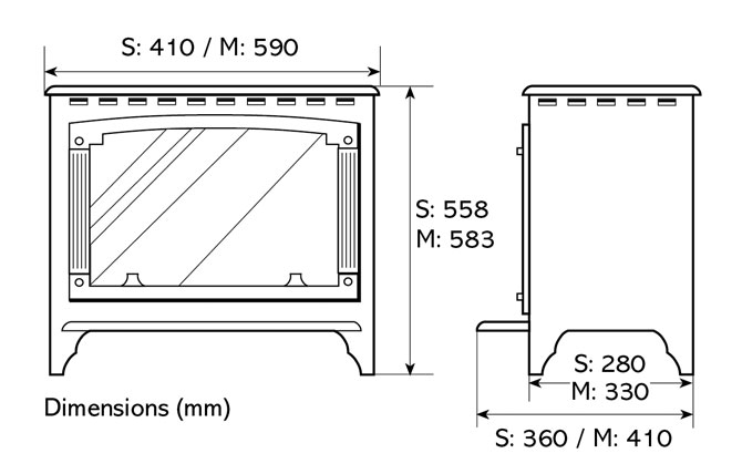 Marlborough Electric Stoves Dimensions