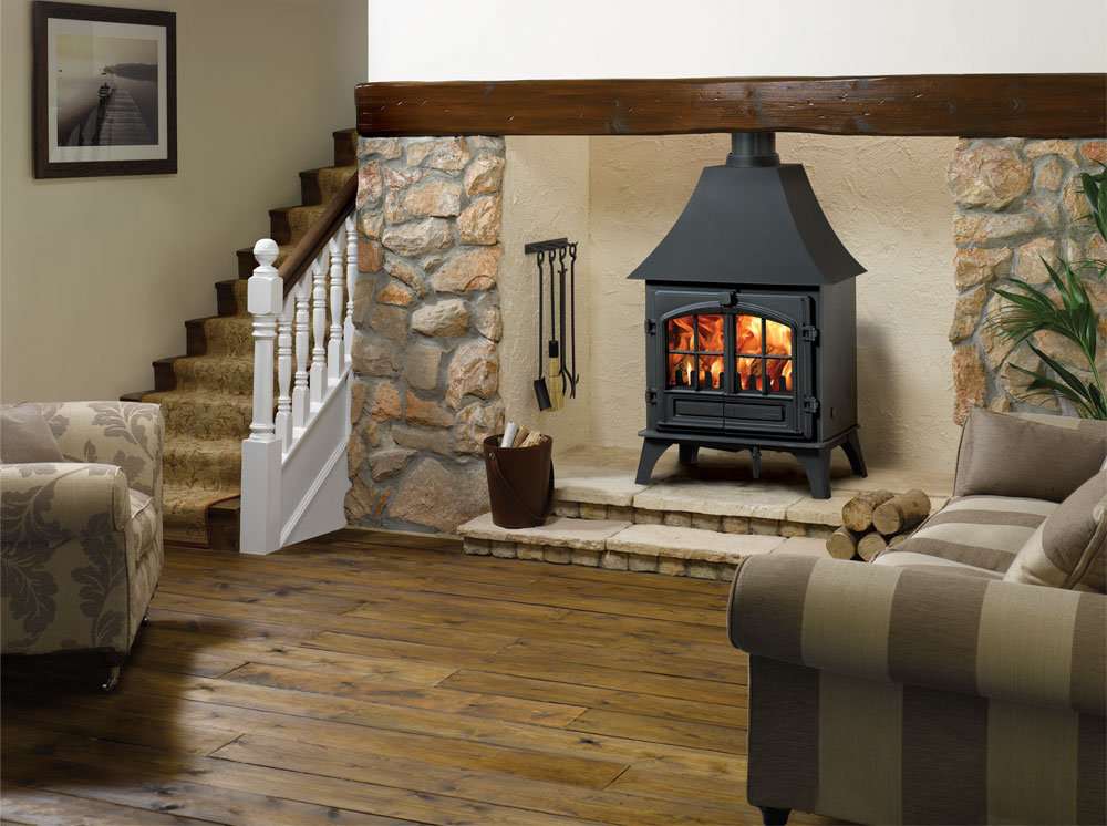 Stovax Riva Plus Large Wood Burning Stove With High Canopy And Removable Window Crosses