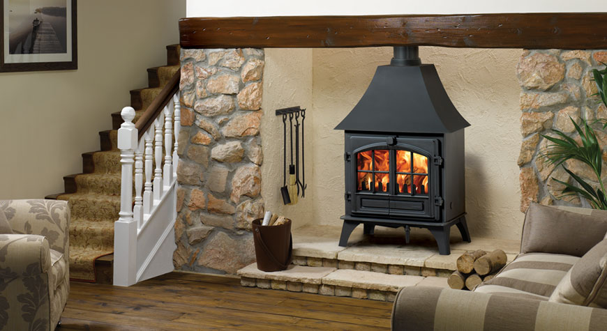 Stovax Riva Plus Large wood burning stove with high canopy and removable  window crosses. - Riva Plus Large Wood Burning Stoves & Multi-fuel Stoves - Stovax