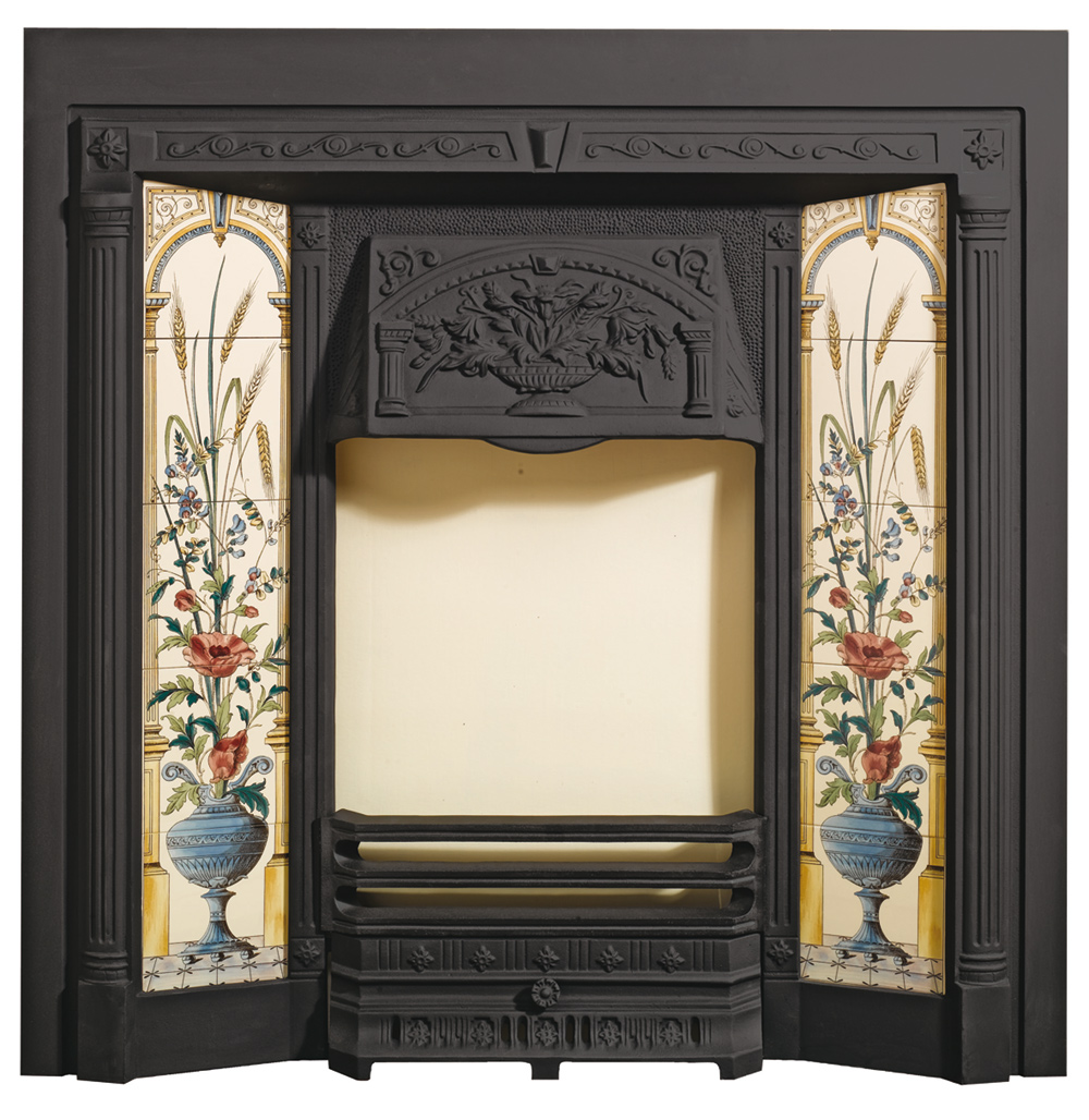 poppy and wheatsheaf tiled fronts - Fireplace Fronts