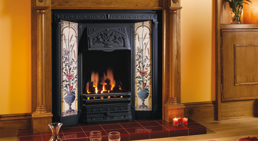 Stovax Poppy U0026 Wheatsheaf Tiled Fireplace Front With A Regency Lacquered  Antique Pine Mantel