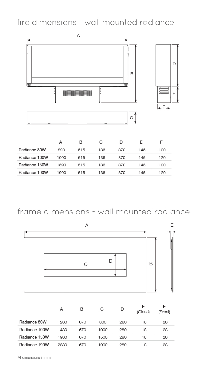 Radiance Glass Dimensions