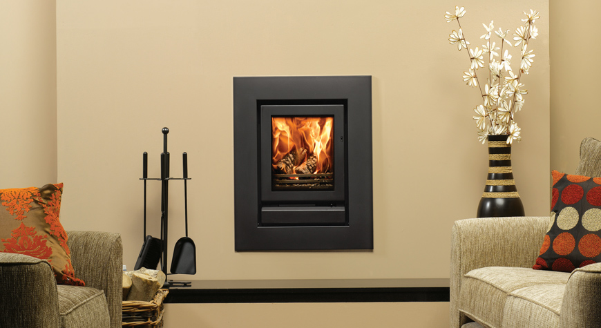 Multi fuel or wood burning stove - Stovax Riva 40 Inset Fire With Wide 4 Sided Frame In Jet Black