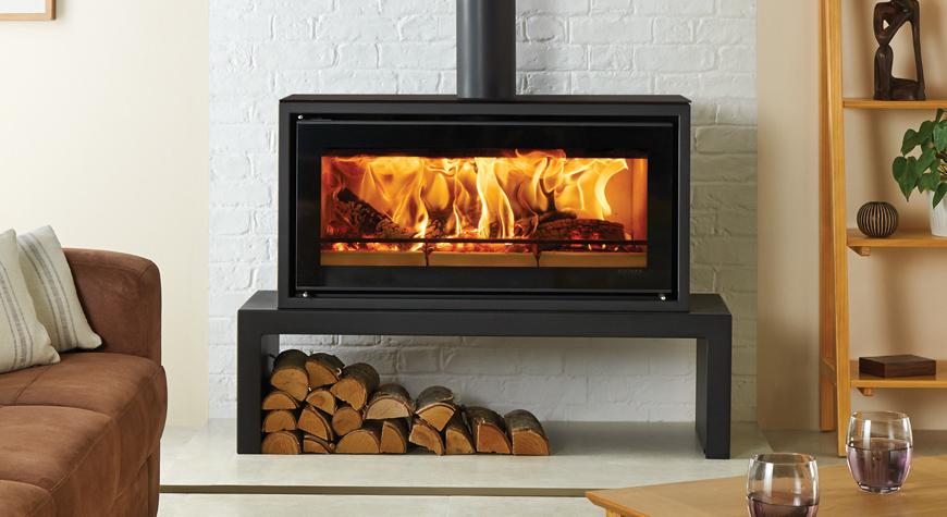 Stovax Studio 2 Freestanding wood burning stove on 140 Low Bench - Studio 2 Freestanding Wood Burning Stove - Stovax Stoves