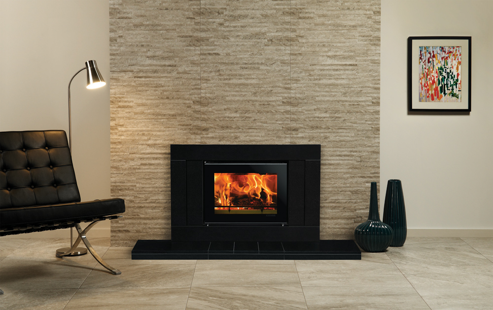 Multi fuel or wood burning stove - Studio 500 Sorrento Inset Wood Burning Fire In Polished Black Granite