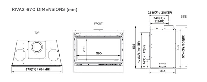 Riva2 530 & 670 Verve XS Dimensions