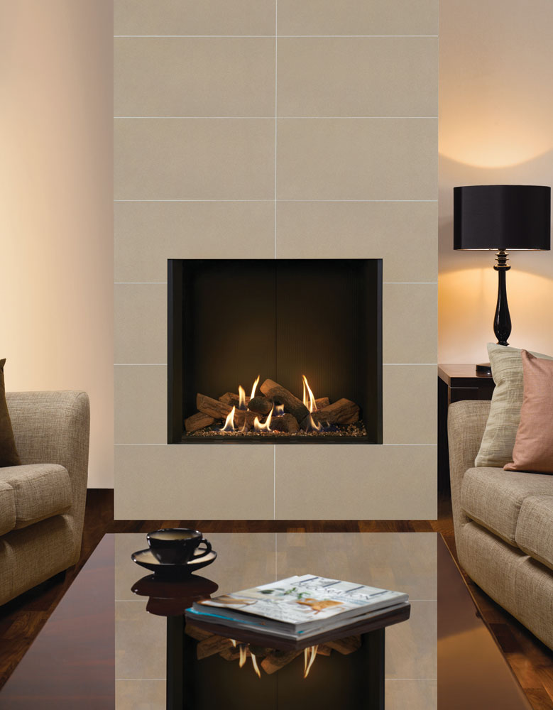 White Fire Surround Part - 40: Gazco Riva2 800 Edge Gas Fire With Black Reeded Lining. Shown With Santiago White  Fire Surround Tiles