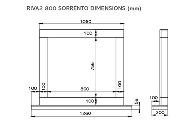 Riva2 800 Sorrento Dimensions
