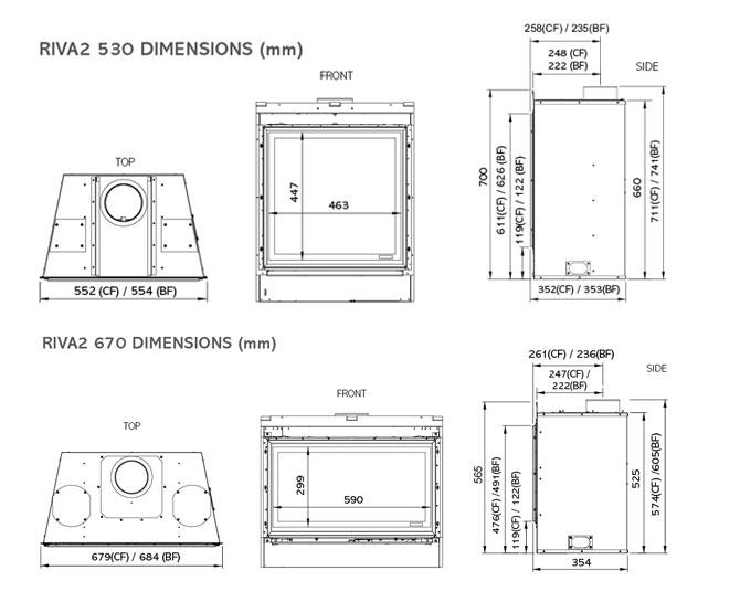 Riva2 530 & 670 Designio2 Steel Dimensions