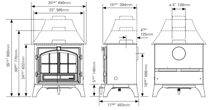 Riva Plus Medium Wood Burning & Multi-fuel Stoves Dimensions